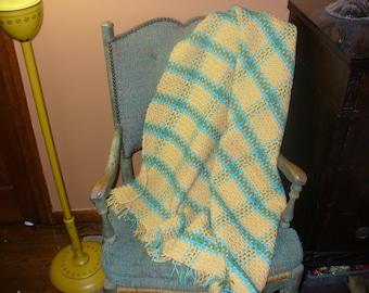 Hand Crocheted Cornmeal Yellow Turqua Blue Tea Leaf Green Plaid Afghan by Michael Phelps 47x39