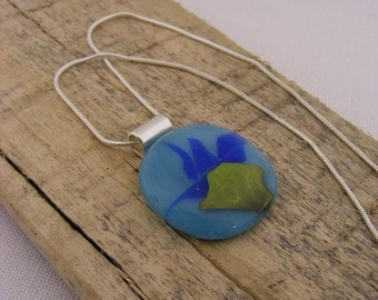Blue/Yellow Glass Pendant with Silver Plated Snake Chain // handmade // OOAK // jewellery // abstract