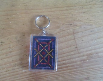 Lovely, Handmade Cross Stitched Key Chain