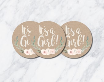 Instant Download! 2.5 inch It's a Girl! Rustic Favor Tags