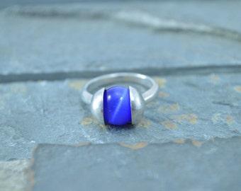 Pressure Set Blue Ball Ring Size 5.25 Sterling Silver 4.5g Vintage Estate