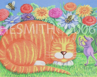 The Cat Whisperer - Funny Cat and Mouse Card - Orange Tiger Card -  Color Blank Card