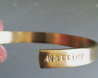 Able or Warrior Inscribed Brass Cuff Bracelet