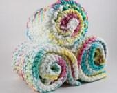 Hand Knit Dishcloth Set - Hand Knit Washcloth - White/Yellow/Pink/Blue Mix