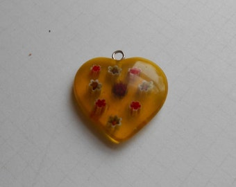 Yellow Millifiori Heart Bead with Blue and Red Flowers 22mm
