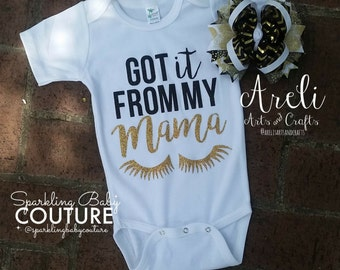 Got it From My Mama Gold and Black Glitter Onesie