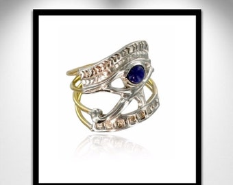 Eye of Horus Ring Lapis, Gold and Silver _ ring eye of Horus Lapis, gold and silver
