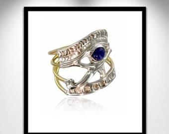Eye of Horus Ring Lapis , Gold and Silver _ Bague Oeil d'Horus Lapis, Or et Argent