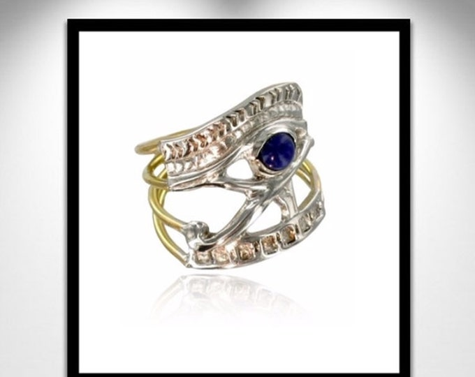 Featured listing image: Eye of Horus Ring Lapis, Gold and Silver _ ring eye of Horus Lapis, gold and silver