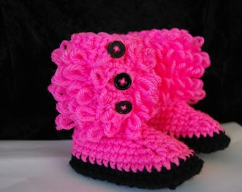 Hot Pink Baby Girl Ugg Style Boots