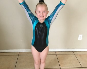 Long Line Performance Leotard with Rhinestone Collar detail