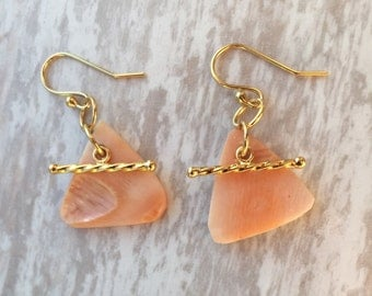 Gold Nautical Queen Conch Shell Earrings