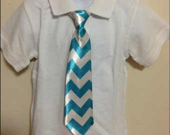 Blue chevron elastic band necktie for children