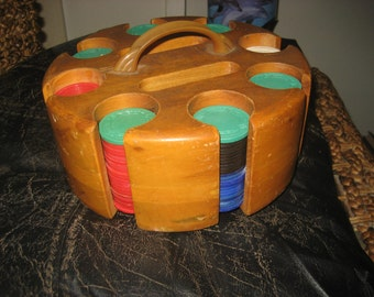Antique Poker Caddy / Poker Chips / Spinning Caddy for Cards and Game Chips