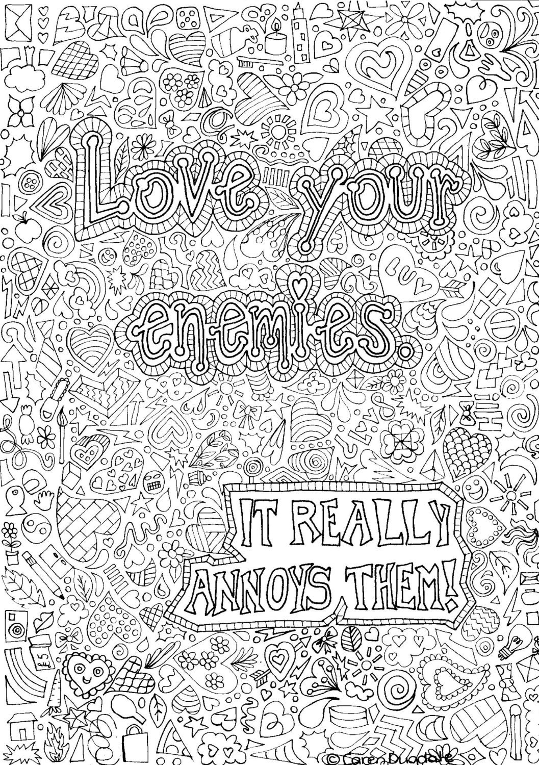Love Your Enemies Colouring Page