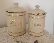 Vintage French enamel storage pots, Set of 2 French enamel canisters, French kitchen containers, vintage cream enamel kitchenware,