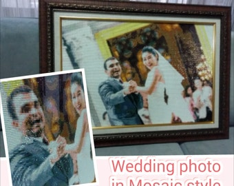 Wedding photo in Mosaic style with frame