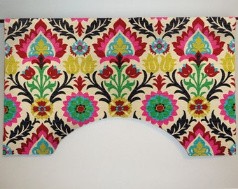 Waverly Santa Maria Desert Custom Valance Curtain, Colorful Suzani Floral, Lined