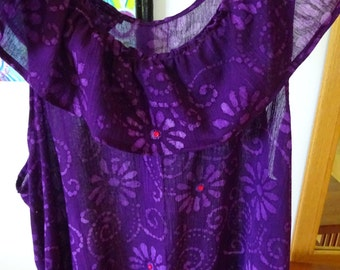 Purple Gauze Slip with Red Buttons!