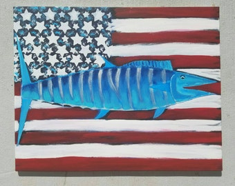 Blue Wahoo Flag