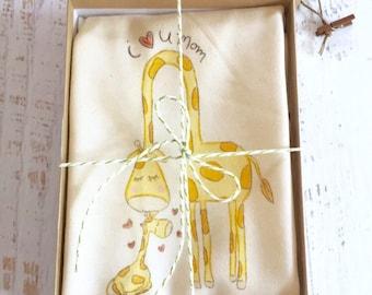 Gender Neutral Baby, Baby Clothes, Organic Baby Gift, Giraffe Bodysuit, Teething Ring, Baby Giraffe, Baby Gift