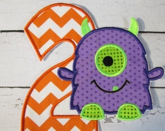 Ready To Ship -3-5 Business Days - Little Monster Birthday Iron On or Sew On Embroidered Applique