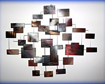 Modern Wood Block - Wire Wall Art - 3 Dimensional