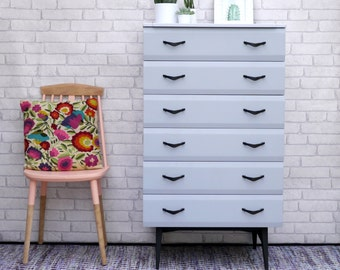 Mid Century Modern Upcycled Chest of Drawers by Meredew Painted Grey & Yellow