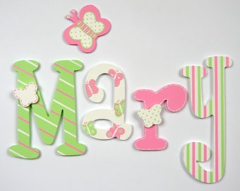 Hand painted colorful wooden letters; kids name; baby name; wall letters, letters of wood; kids room decoration; butterfly, stripes,  seams