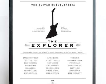 Explorer Guitar Poster, Gibson Guitar Printable, Gibson Art, Electric Guitar Wall Decor, Guitar Room Decor, Music Printable, Rock Print