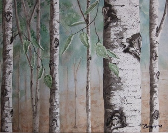 Summer Birch Watercolor, White Birch Painting,