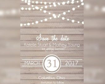 Rustic Save the Date, Rustic Wedding, Wedding Save the Date Card, Save the Date Invitation, Save-the-Date Card, Save a Date Printable