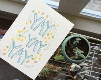 "Yay Yay Yay Congratulations | Greeting Card | 4"" x 5.5"" 