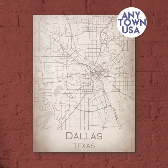 Modern map of Dallas unique gift for anniversaries and weddings. Can ...
