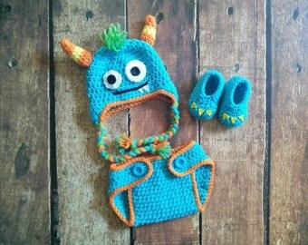 Crochet Newborn Baby Boy Girl Monster Halloween Costume