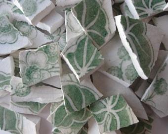 Mosaic Tile Pieces/ Light Green/ Broken Pottery/ 145 Pieces/ #117