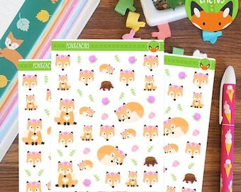 Spring Fox - Flower Floral Forest - Planner Stickers