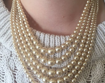 Pearls - Five Strand Faux Pearl 40,s Necklace