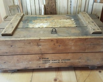 Vintage Military Crate World War 2 Storage Box Industrial War Storage Tool Box Wood Crate South Salem Studios US Navy US Military Militaria