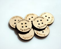 """Custom Buttons 1.5"""" round Wooden Buttons Personalized Wood Buttons Engraved Buttons Knitting Buttons Craft Wood Engraved Logo Laser Cut"""