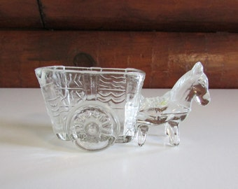 Vintage Clear Glass Horse and Cart Sugar Sweetener Packet Toothpick Holder Trinket Dish
