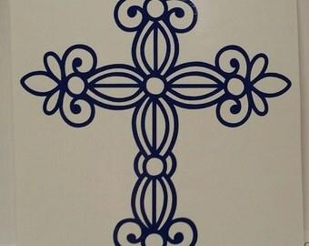 Cross Decal - Wrought Iron Cross - Vinyl Decal- Yeti Decal - Car Decal Sticker