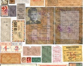 Assorted Vintage Ephemera #1 - 5 Pack of Printable Digital Collage Sheets - Instant JPEG Downloads
