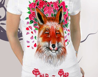 T-shirt,Hand-made,Gift,Painting,Funny Fox in flowers ,Painting,Hand-made,Gift,Summer