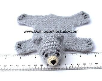 Dollhouse Miniature Knitted Bear Skin Rug - Light Grey - Limited Edition
