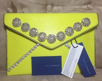NEW Rebecca Minkoff Neon Yellow Embellished Clutch