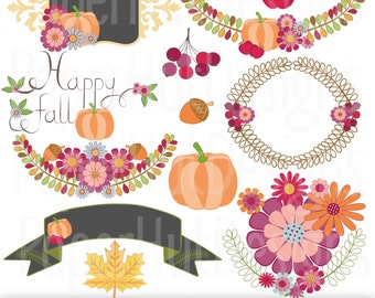 Fall Clipart-Autumn Clip Art-Thanksgiving Clipart-Pumpkin-Berries-Acorn-Floral Clipart-Label Clipart-Personal or Commercial Use.