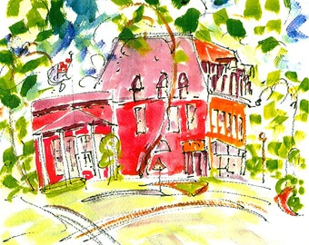 5 BROOKLINE and NEWTON MA Note Cards by Jane Staffier: 1. Celebrate Newton 2 Coolidge Corner 3.Newton 4. Chestnut Hill #1*Gifts Under 25