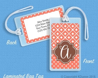 Personalized Bag Tag Laminated Luggage Tag Custom ID