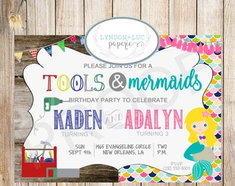 Tools & Mermaids Birthday Invitation